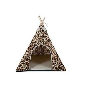 Cabana Para Cachorro Woof Classic  Apache Animal Print Lovers Areia