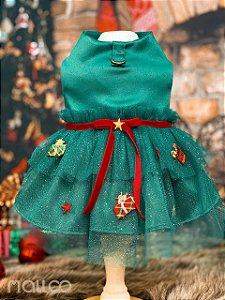Vestido para Cachorro Malloo Natal Presente Verde