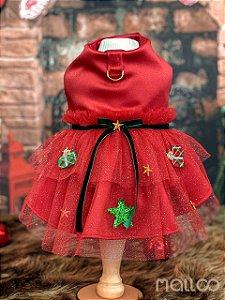 Vestido para Cachorro Malloo Natal Presente Vermelho