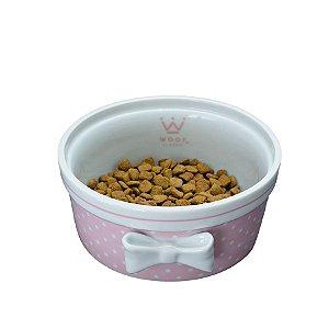 Comedouro Porcelana para Cachorro Woof Classic Laço Poá London Rosa