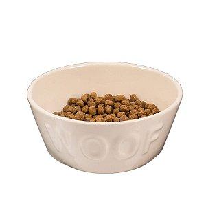 Comedouro para Cachorro em Cerâmica Woof Classic Bege