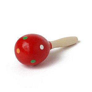 Meu Primeiro Chocalho - Vermelho Bolinhas Coloridas