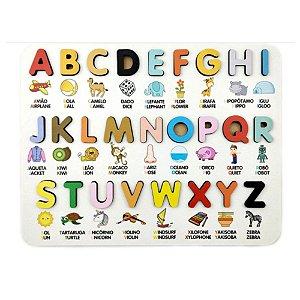 Alfabeto madeira BILÍNGUE Ilustrado  3D - Quebra-cabeça Encaixe