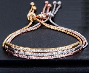 Bracelete Ajustável Braccialini Cravejado - Aço Inoxidável Revestido