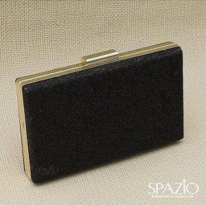 Bolsa Clutch Preta com detalhe dourado