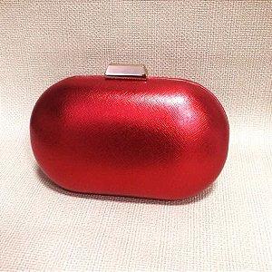Bolsa Clutch Oval Metalizada Vermelha