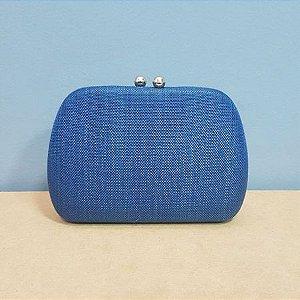 Bolsa Clutch Azul Ovalada com fecho Imã