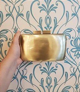 Bolsa Clutch Cromada Dourada
