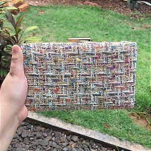 Bolsa Clutch Retangular Tecido Colorido