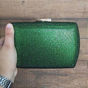 Bolsa Clutch Ovalada Verde com Strass