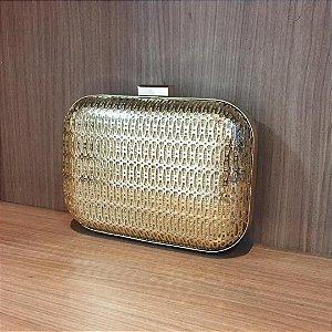 Bolsa Clutch Dourada Cromada