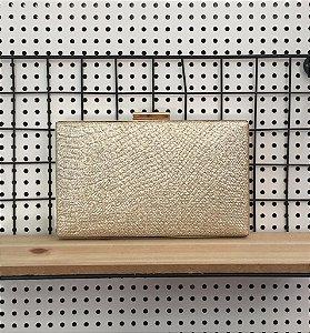 Bolsa Clutch Retangular Dourada com Brilho