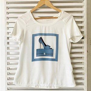 Blusa sapato strass azul P