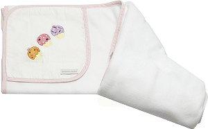 Manta Cup Cake Branca de Soft com Viés Rosa, Bordada