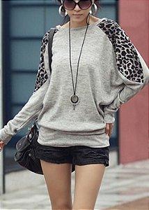 Blusa Casual Manga Longa com estampa Leopardo