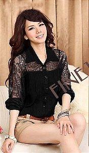 Camisa Feminina Importada Modelo 2013 Rendada