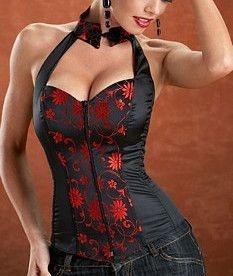 Corset  Floral em Vermelho com Preto Com Zíper frontal