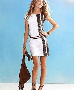 Vestido Com estampa lateral com Cinto em Passada Dupla