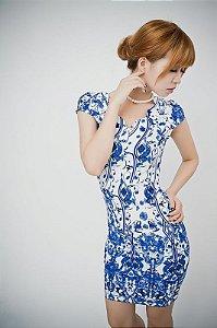Vestido Importado Estampa Blue Floral