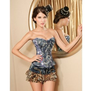 Corset Denim Estampa Rock Azul com Cinza