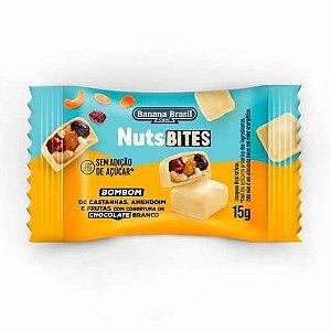 NutsBites ao Chocolate Branco com Castanhas, Amendoim e Frutas (Zero Açúcar) 15g - Banana Brasil