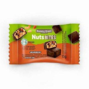NutsBites ao Chocolate Meio Amargo com Castanhas, Amendoim e Caramelo Nibs de Cacau (Zero Açúcar) 15g - Banana Brasil