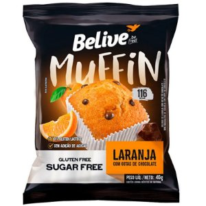 Muffin Zero Glúten e Zero Açúcar (Laranja com Chocolate) 40g - Belive