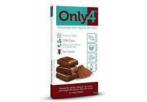 Chocolate 70% Cacau com Açúcar de Coco - 80g - Only4
