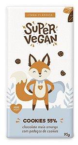 Chocolate Meio Amargo 55% Com Cookies - 95g - Super Vegan