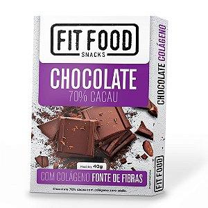 Chocolate 70% Cacau (com Colágeno) 40g - Fit Food