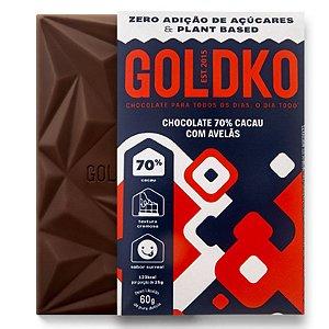 Chocolate 70% Cacau com Avelãs (Zero Açúcar / Plant Based) 60g - GoldKo