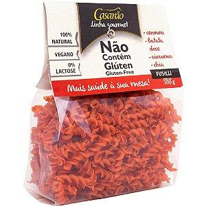 Macarrão de Arroz Fusilli Cenoura, Batata doce, Cúrcuma e Chia - 300g - Casarão