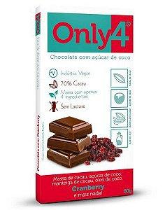 Chocolate 70% Cacau Com Açúcar de Coco Sabor Cranberry - 80g - Only4