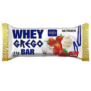 Barra Protéica Whey Grego Bar Sabor Morango com Chantilly - 40g - Nutrata