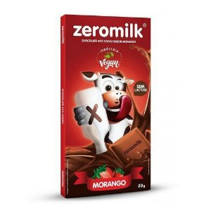 Chocolate 40% Cacau Sabor Morango - 80g - Zeromilk