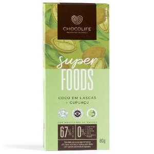 Chocolate 67% Cacau com Coco em Lascas e Cupuaçu - 80g - Chocolife
