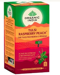Chá Tulsi Framboesa e Pessêgo - 25 sachês - Organic India