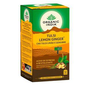 Chá Tulsi Limão e Gengibre - 25 sachês - Organic India