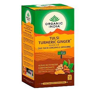 Chá Tulsi Curcuma e Gengibre - 25 sachês - Organic India