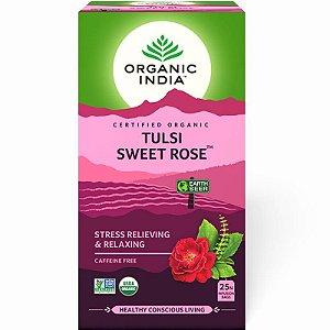 Chá Tulsi Pétalas de Rosa - 25 sachês - Organic India