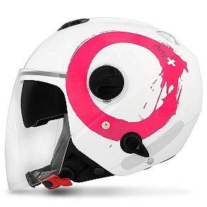 Capacete Zeus 202FB T40 ART Branco Rosa