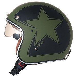 Capacete ZEUS 380FA STAR Verde K56 Preto