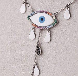 Colar Olho Grego Prata com banho de ródio  e zircônias coloridas