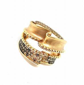 Anel coleção High Jewelry, em Ouro Rosé 18K e Diamantes cognac, negros e brancos, one of a Kind