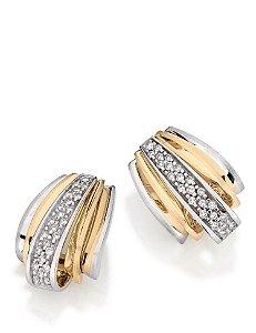Brincos Evase em Ouro amarelo e branco 18K com Diamantes