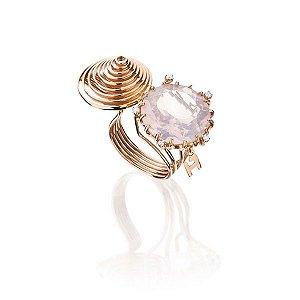 Anel estilista Fause Haten em Ouro rosé 18K, Quartzo rosa e Diamantes