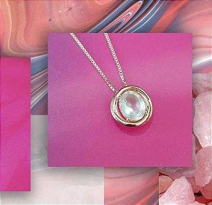 Colar coleção Ourubro Rosa em Quartzo Rosa natural e Prata de Lei com revestimento de Ouro rosé