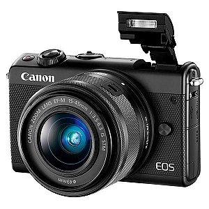 "Câmera DSLR Canon EOS M100 24.2MP 3.0"" Wi-Fi/NFC/Bluetooth + Kit EF-M15-45 IS STM - Preta"