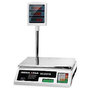 Balança Digital Comercial MegaStar BC209TB com Cálculo de Preço para até 40kg - Branco