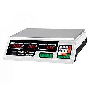 Balança Digital Comercial MegaStar BC208B até 40 kg Bivolt - Preto/Branco